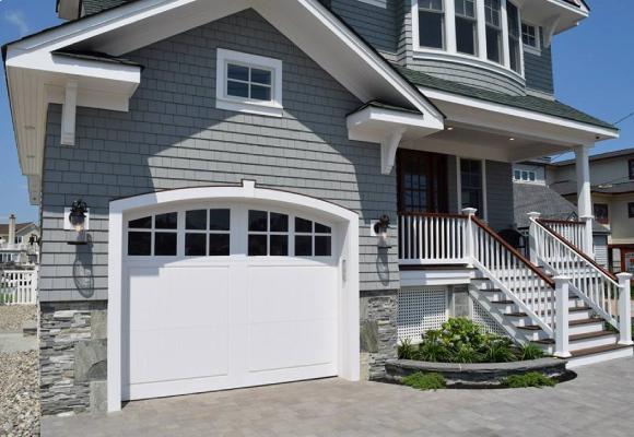 vinyl composite garage door with arched windows