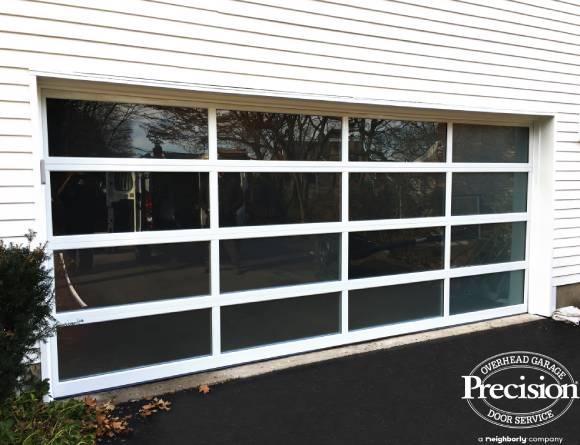 Double wide full view glass garage door