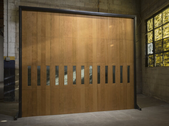 Wood garage door with horizontal mosaic windows